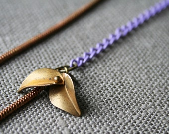 SALE - TWO LEFT Oleander Necklace - leaf leaves purple lilac gold brass asymmetric minimal minimalist nature woodland snake chain modern