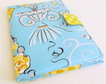 Womens Kindle Fire HD 8.9 inch Cover, Honey Yellow Birds and Flowers on Sky Blue, Portfolio Style