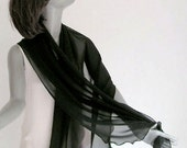 "RESERVED special order - Black Shawl  Wrap,  Sheer Pure Natural Silk Chiffon 10mm Evening Stole, 21"" x 68""."
