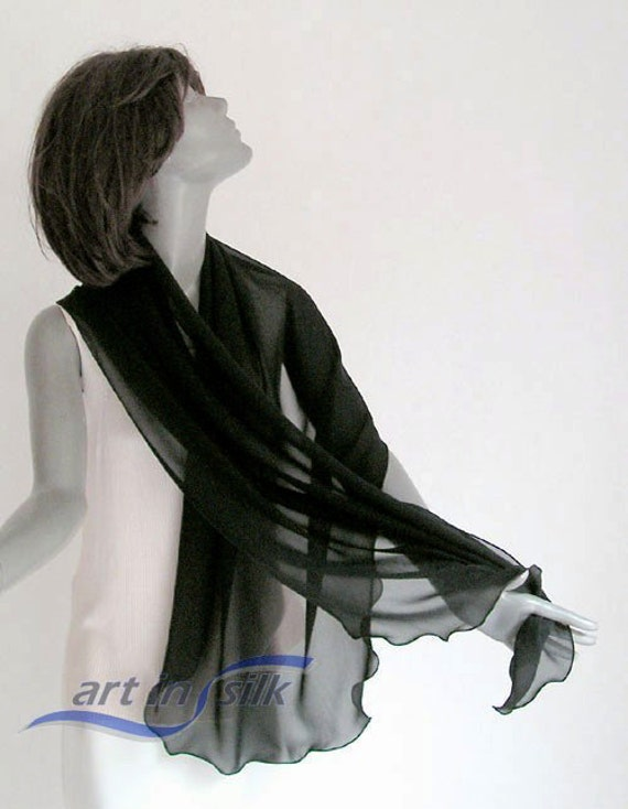 """RESERVED special order - Black Shawl  Wrap,  Sheer Pure Natural Silk Chiffon 10mm Evening Stole, 21"""" x 68""""."""