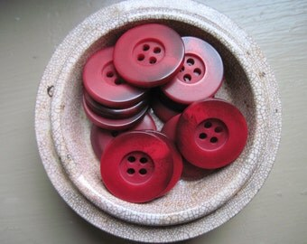 buttons in pretty red with deep wine set of 12