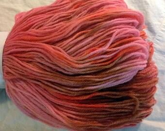 Hand Dyed Superwash Merino Wool & Nylon Sock, Fingering Weight, Knitting Yarn, Pink,Orange, Pastel, Peach 462 yards