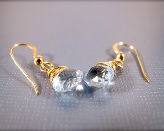 Faceted Blue Topaz gold filled Gemstone Drop Earrings March Birthstone