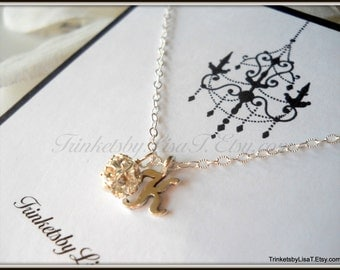 Fireball and Initial Sterling Silver Necklace Flower Girl Bridesmaid