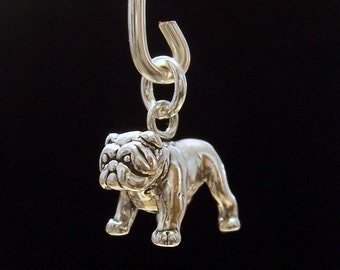 Bulldog Charm - Sterling Silver Bulldog Charm - Dog Charm