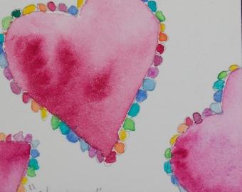 ORIGINAL watercolor pink fuschia orange purple black cobalt turquoise hearts abstract OOAK romantic valentines