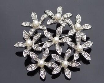 Floral Pearl & Crystal Brooch, Bridal Brooch, ORCHID