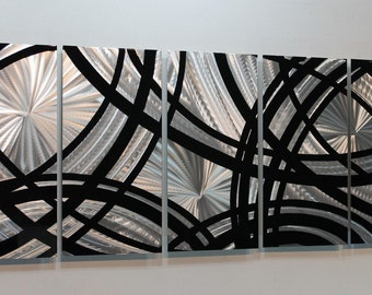 Silver & Black Modern Metal Wall Art - Contemporary Wall Sculpture - Home Decor - Silver Accent - Metal Decor -Fast And Furious by Jon Allen