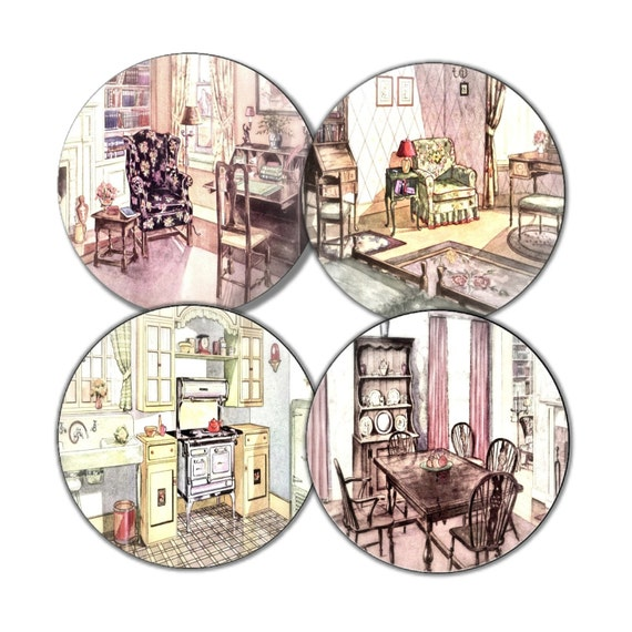 Items Similar To The 1920s Home Coasters Set Of 4 Vintage