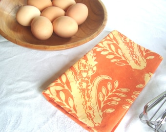 thistles towel in butter and rust. hand printed batik