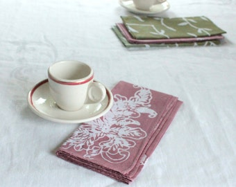 mauve and earth olive lunch napkins