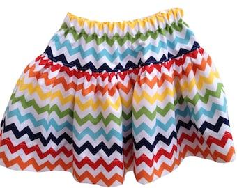 SKIRT - CHEVRON GIRLS Twirly Skirt - Primary 6 colours - size S M L