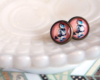 sweet warrior bird framed post earrings- quirky tribal - woodland- wildwood