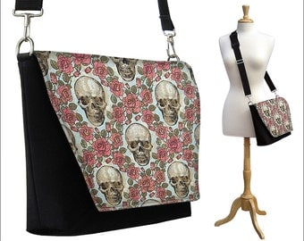 CLEARANCE Womens  messenger Bag, Crossbody Bag with Long strap, iPad Purse,  iPad Case, Medium Shoulder Bag, steampunk skulls roses goth RTS