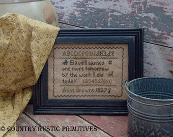 Primitive Anne Browne Early Style Sampler Cross Stitch E Pattern PDF