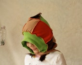 Organic Pixie Patchwork Hoodie Scarf  with Pocket for Little Ones - Ready to Ship