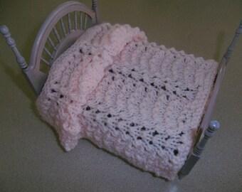 Hand Knit Medium  Pale Peach Yellow Lati Doll Blanket/Afghan