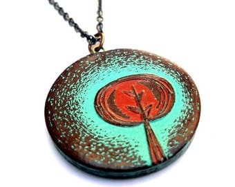 Rustic Turquoise and Rust Red Tree Necklace , Retro Tree Necklace, Tree of Life Pendant, Woodland Jewelry, Gift for Her, Girlfriend Gift