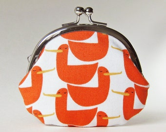 Coin purse - orange ducks kiss lock change purse white orange yellow coin pouch metal clasp coin purse kids