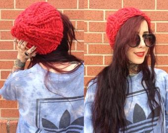 Red chunky handknit beanie - ecofriendly fashion knits - ribbed toboggan