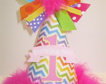 Rainbow Chevron Birthday Party Hat