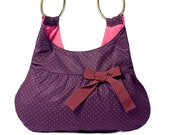 Little tote bag purple polka dot cotton burgundy ribbon Zipper closure Handmade