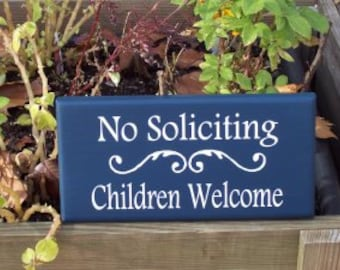 No Soliciting Children Welcome Wood Vinyl Sign Whimsical Style Entry Door Family Home Do Not Disturb Decor Nautical Navy Blue Plaque