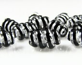 Black and Clear Corkscrew Swirls Lampwork Glass Beads (12)