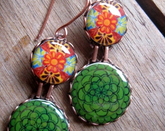 Statement earrings, MTO, Mexican fiesta jewelry, green emerald plate earrings, Mexican Cinco de Mayo wedding, drop earrings, Talavera