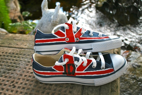 Painted Converse One Direction Shoes Youth Size 2 Union Jack