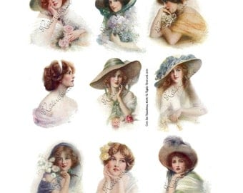 Vintage Dreamy Women Girls Digital Collage Sheet 1245 Instant Download