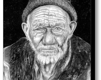 People Portraits - Old Man Painting - Poster and Canvas Prints