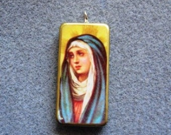 Virgin Mary Mater Dolorosa Our Lady of Sorrows Catholic Recycled Domino Art Necklace MD1