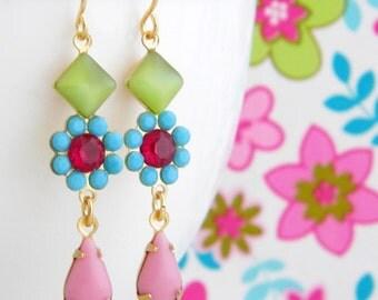 Vintage Lime Turquoise Rose Pink Swarovski Flower Earrings