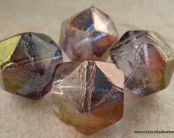 Amethyst Luster Czech Glass Beads 16mm English Cut 4