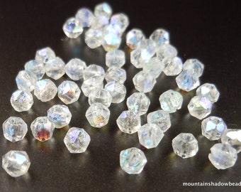Czech Glass Beads - 3mm English Cut Nugget Beads Crystal AB 50