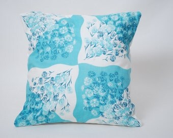 Vintage Handkerchief Pillow Cover Turquoise and White Free Shipping