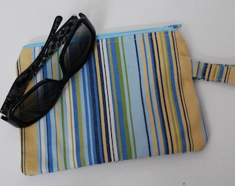 Zippered Blue and Yellow Striped Cotton Fabric Wristlet