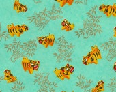 Chiyogami or yuzen paper - roaring tigers with metallic gold bamboo on deep aqua, 9x12 inches