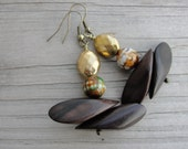 Kamagong. Tiger Ebony Wood, Agate and Brass Tribal Earrings