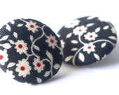 FREE SHIPPING!!! Large Fabric Covered Button Earrings - White and Red Floral on Navy Blue