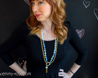 Moonstone and gold one of a kind statement necklace