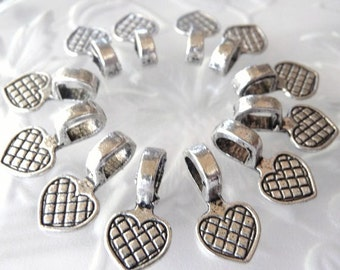 Heart Bails - 30 pcs - Antique Tibetan Silver - Lead Free - Nickel Free - Glue on Bails