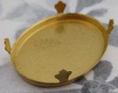 3 pcs. raw brass bezel cup settings w prongs 38x28mm - f2721