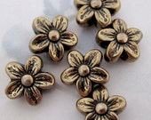 18 pcs. antiqued brass coated resin flower beads 16x7mm - f2866