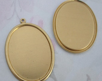 10 pcs. raw brass cabochon settings with loop 37x27mm - f2808