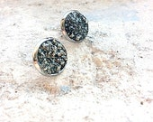 Genuine Pyrite Druzy Cluster Earrings - Pyrite Post Earrings - Pyrite Stud Earrings - Fools Gold - Regular