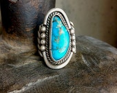 Turquoise Indian Pawn Ring - Vintage Turquoise Southwestern Ring - Silver ring size 10