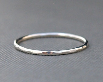 Thin Sterling Silver Ring , Thin Ring , Delicate Ring , Hammered Silver Ring