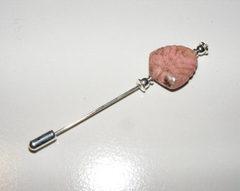 Carved Rhodonite Stick Pin